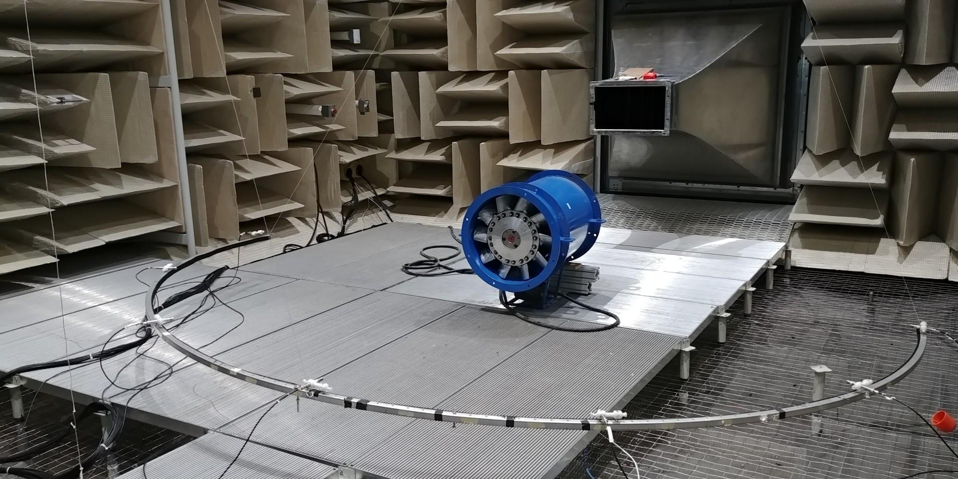 An horizontal setup of a test made on a propeller